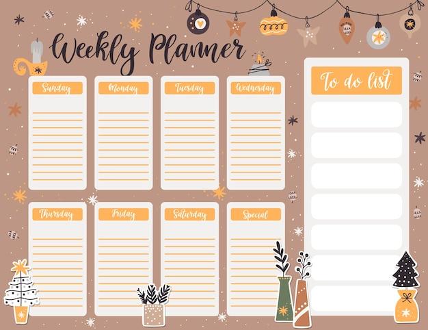 Modelo de página de planejador semanal de natal, lista de itens de ano novo para fazer