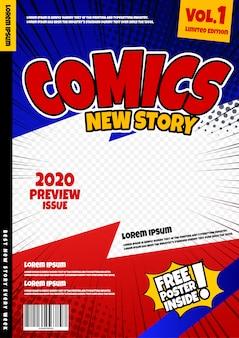 Modelo de página de quadrinhos. capa de revista