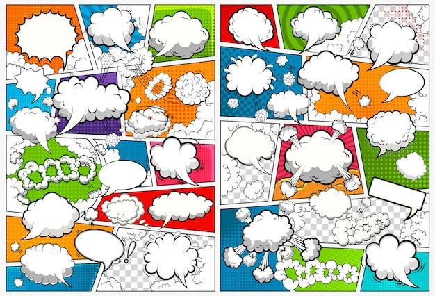 Modelo de página de quadrinhos dividido por linhas com bolhas do discurso.