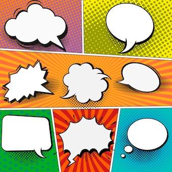 Modelo de página de quadrinhos no estilo pop-art. fundo colorido com balões de fala.