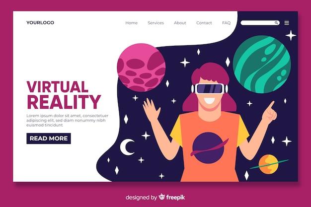 Modelo de página de realidade virtual landin