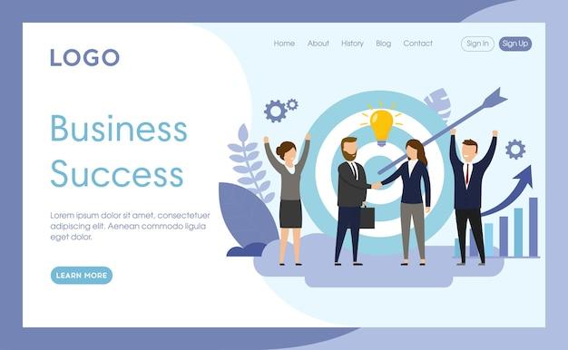 Modelo de página de site de sucesso comercial
