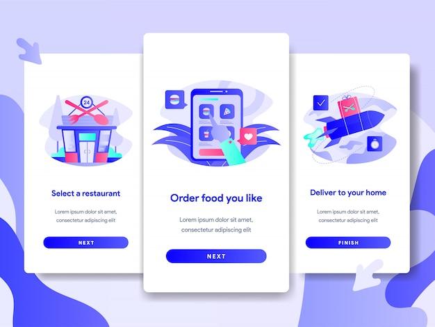 Modelo de página de tela tutorial de entrega de comida on-line