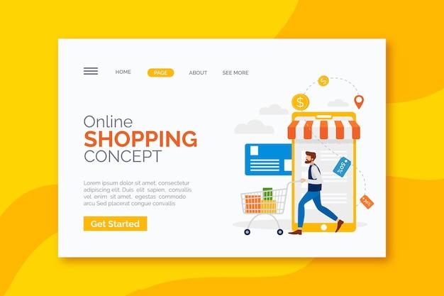 Modelo de página de web de compras online de design plano