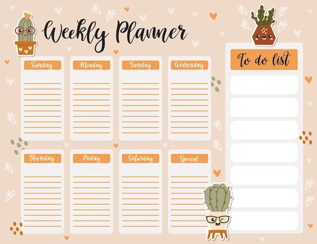 Modelo de página do planejador semanal, lista de tarefas com cactos fofos