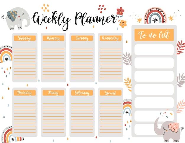 Modelo de página do planejador semanal, lista de tarefas com elefante fofo no estilo desenho animado