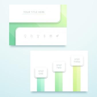 Modelo de página do vetor quadrado verde 3d paisagem