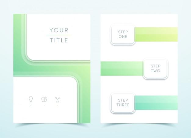 Modelo de página do vetor quadrado verde 3d retrato