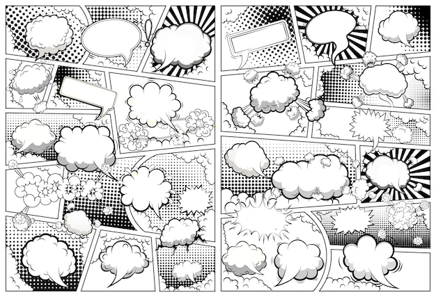 Modelo de página em preto e branco de quadrinhos dividido por linhas com balões de fala. .