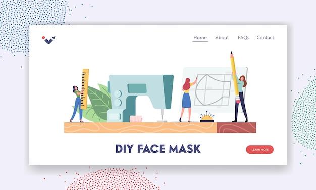 Modelo de página inicial da criação de máscara facial protetora diy feito à mão. minúsculos personagens femininos cortados e máscaras médicas de costura em casa em uma máquina enorme durante o coronavirus. ilustração em vetor desenho animado