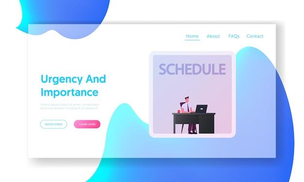 Modelo de página inicial da organização do prazo final do gerenciamento de tempo. personagem de empresário usa a matriz de eisenhower para agendar tarefas de negócios