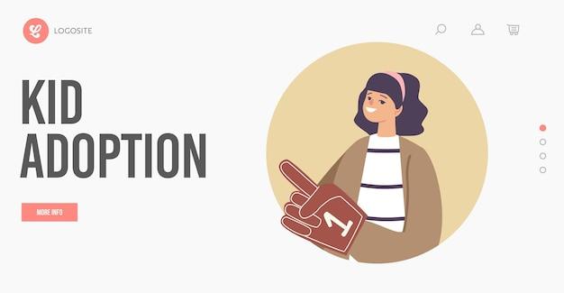 Modelo de página inicial de adoção, custódia e puericultura de criança. órfã garota feliz usando luva com o número um. criança adotada, parentalidade, cuidado de crianças adotam o conceito de serviço. ilustração em vetor de desenho animado