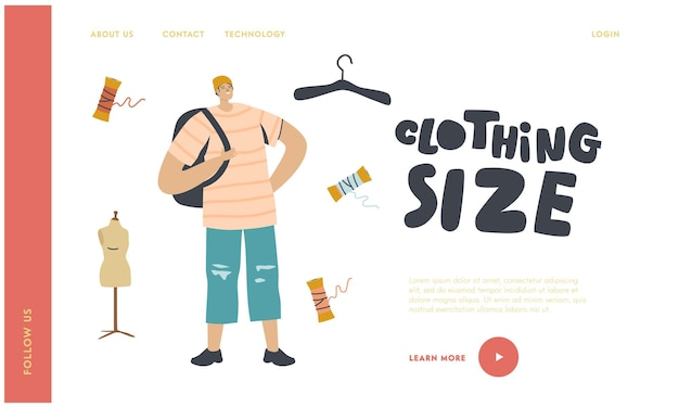 Modelo de página inicial de adolescente vestindo roupas de tamanho grande.