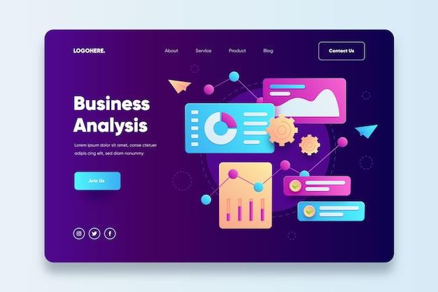Modelo de página inicial de análise de negócios