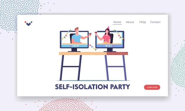 Modelo de página inicial de aniversário virtual, festa online, evento festivo em casa. personagens de amigos tilintam de copos com álcool de monitores de computador, comemore o feriado. ilustração em vetor desenho animado