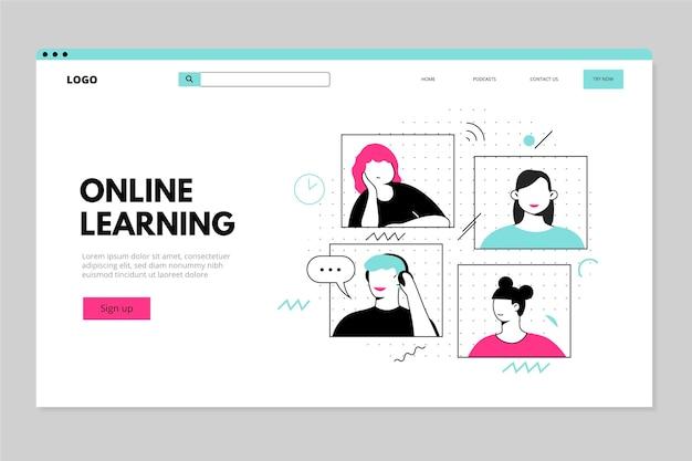 Modelo de página inicial de aprendizagem on-line plana e linear