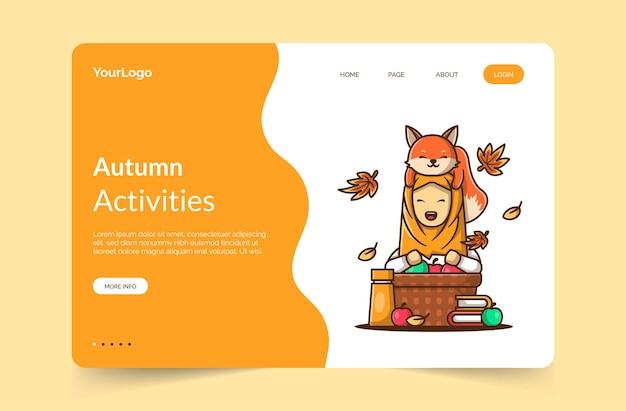 Modelo de página inicial de atividades de outono