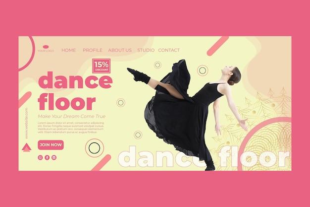 Modelo de página inicial de aula de dança com foto