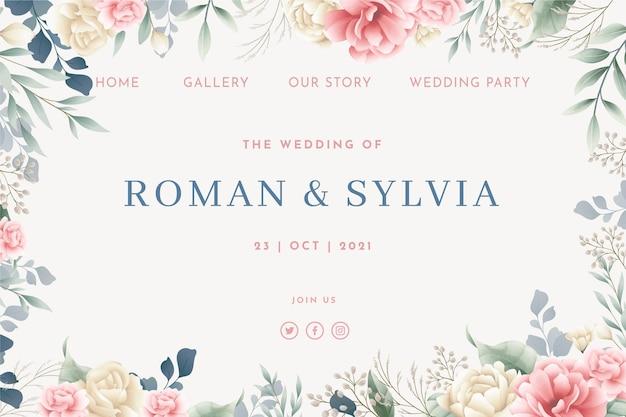 Modelo de página inicial de casamento floral