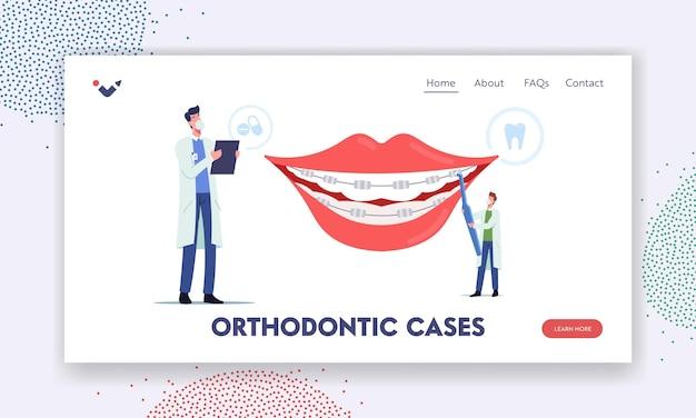 Modelo de página inicial de casos de ortodontia. instalação de suportes para alinhamento de dentes, odontologia, personagens minúsculos de médicos dentistas instalam aparelho dentário no paciente. ilustração em vetor desenho animado