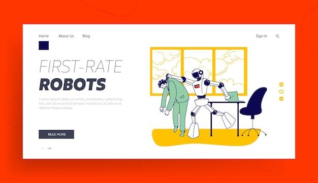 Modelo de página inicial de competição de dominação de inteligência artificial. ciborgue expulsou o personagem humano do trabalho Vetor Premium
