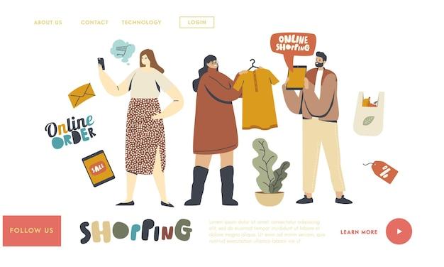 Modelo de página inicial de compras online. personagens de clientes com a compra de mercadorias usando o gadget. marketing digital, compras, loja na internet. as pessoas encomendam e compram coisas. ilustração vetorial linear