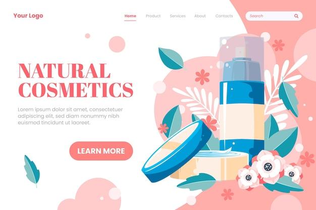 Modelo de página inicial de cosméticos de natureza