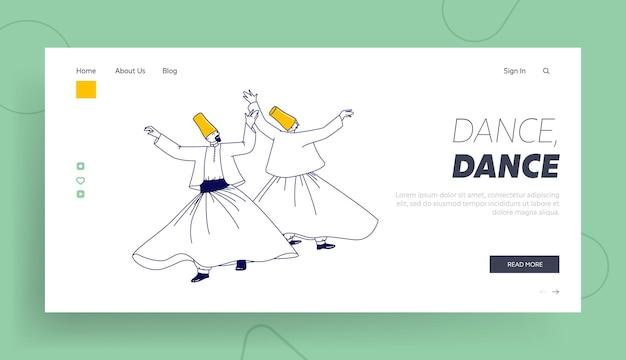 Modelo de página inicial de dança turca árabe.