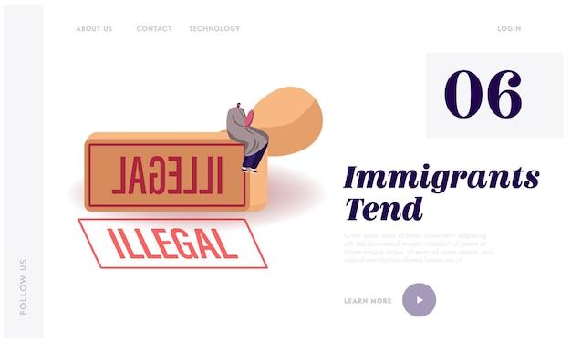 Modelo de página inicial de deportação de imigrante ilegal, imigração e violação da lei. Vetor Premium