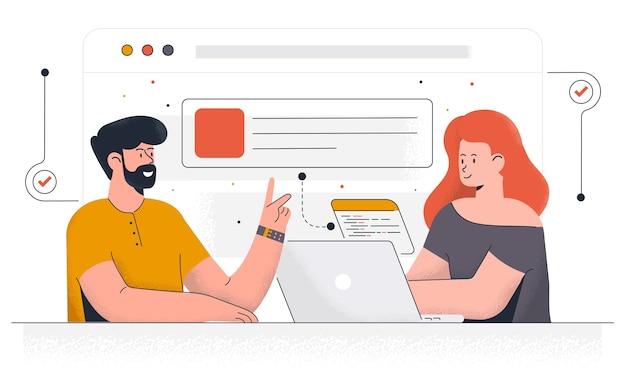 Modelo de página inicial de desenvolvimento de projeto. equipe de jovens trabalhando juntos em um moderno espaço de trabalho. moderno de design de página da web para site e site para celular.