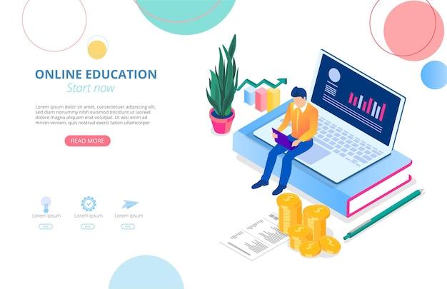 Modelo de página inicial de educação online com laptop livros homem estudando remotamente e espaço para texto