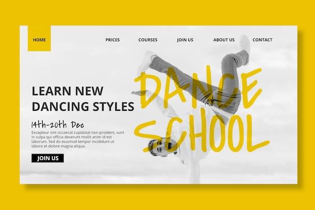 Modelo de página inicial de escola de dança com dançarino