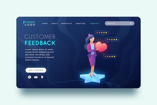 Modelo de página inicial de feedback de gradiente