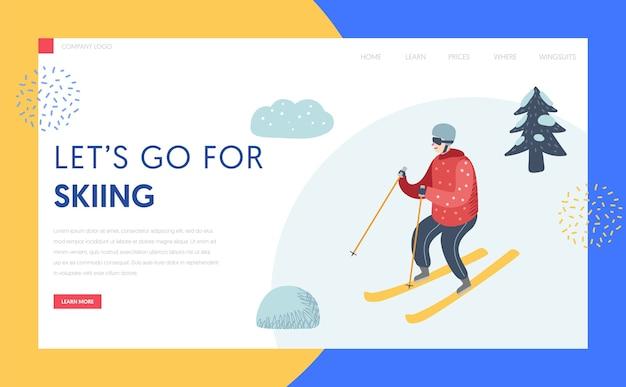 Modelo de página inicial de férias de inverno da estação de esqui. caráter de homem ativo esquiando nas montanhas para o site ou página da web. conceito de atividades ao ar livre. ilustração vetorial
