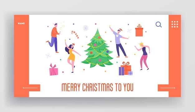 Modelo de página inicial de férias de inverno. layout de site de feliz natal e feliz ano novo com personagens de pessoas planas comemorando. festa de amigos do site móvel personalizado.