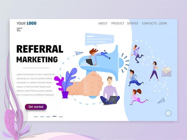 Modelo de página inicial de marketing de referência para o site ou página de destino.