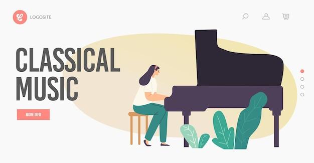 Modelo de página inicial de música clássica. pianista artista feminina personagem tocando composição musical no piano de cauda para orquestra sinfônica ou desempenho de ópera no palco. ilustração em vetor de desenho animado