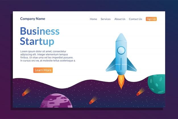 Modelo de página inicial de negócios com conceito de foguete e espaço