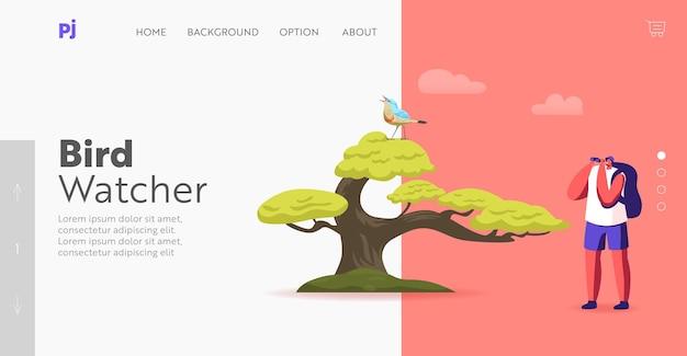 Modelo de página inicial de observação de pássaros. ornitologista observador de pássaros personagem masculino com binóculos, observando pássaros na árvore, voluntário, explorando a natureza observando e estudando a vida selvagem. ilustração em vetor de desenho animado