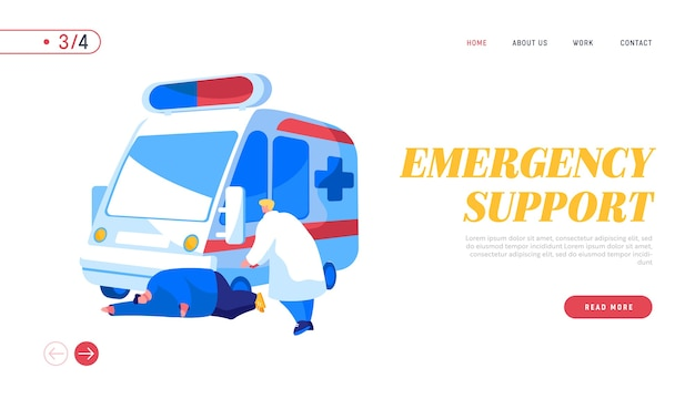 Modelo de página inicial de ocupação de serviço de equipe médica da ambulância
