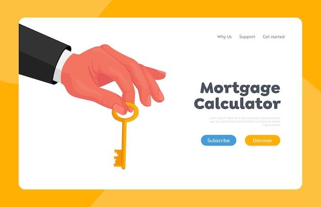 Modelo de página inicial de oportunidade e sucesso de sorte. mão masculina em traje formal segurando uma chave de ouro entre os dedos