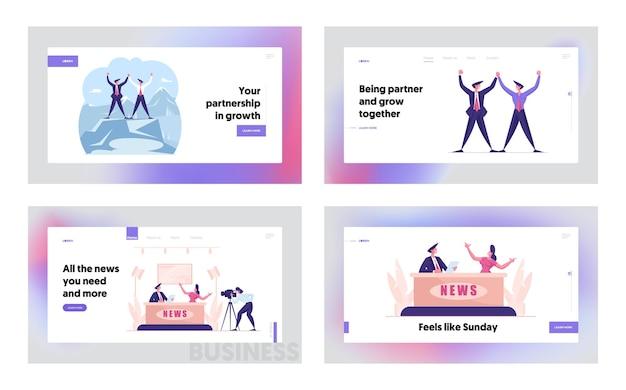 Modelo de página inicial de parceria corporativa para transmissão de notícias ao vivo