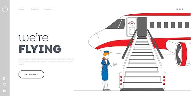 Modelo de página inicial de partida para o local de destino