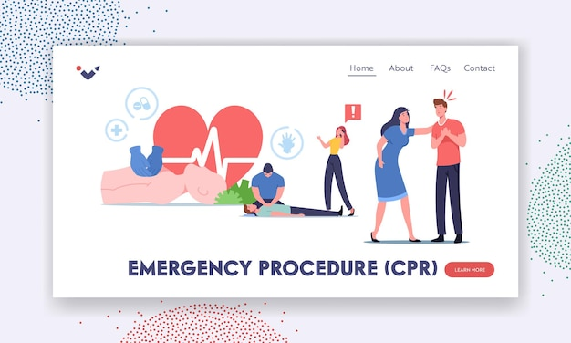 Modelo de página inicial de procedimento de emergência cpr. reanimação cardiopulmonar, primeiros socorros, personagem fazer massagem cardíaca para paciente crítico deitado no chão. ilustração em vetor desenho animado