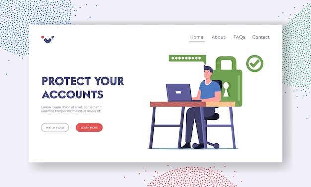Modelo de página inicial de proteção de perfil e conta da internet. personagem masculino sentado na mesa, trabalhando no laptop com senha forte para proteção de dados pessoais. ilustração em vetor desenho animado