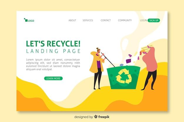 Modelo de página inicial de reciclagem plana