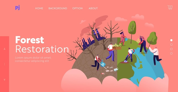 Modelo de página inicial de reflorestamento e revegetação. personagens recolhem lixo, plantam árvores no solo no jardim, salve o mundo, dia da terra, natureza e ecologia. ilustração em vetor desenho animado