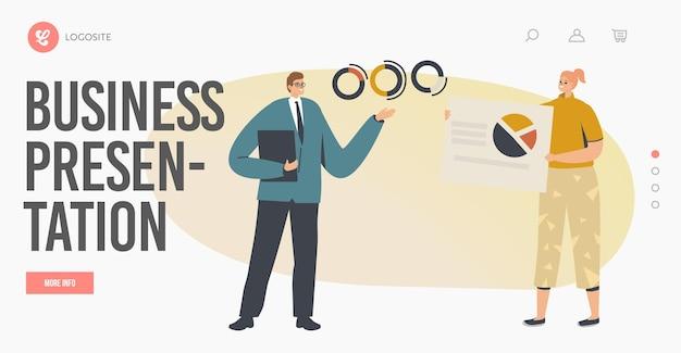 Modelo de página inicial de reunião, apresentação e seminário da conferência. caráter do instrutor de negócios que dá consultoria financeira, que apresenta gráficos de estatísticas de análise de dados. ilustração em vetor desenho animado