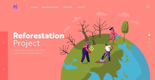 Modelo de página inicial de revegetação, restauração florestal e plantio de árvores. personagens voluntários cuidar da rega de plantas verdes, salvar a natureza, proteger o meio ambiente. ilustração em vetor desenho animado