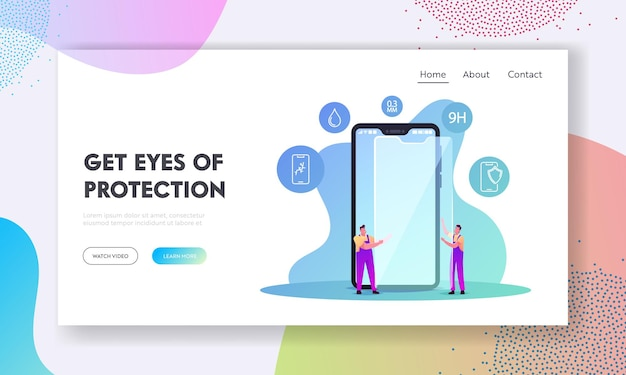 Modelo de página inicial de segurança de tela sensível ao toque de gadget